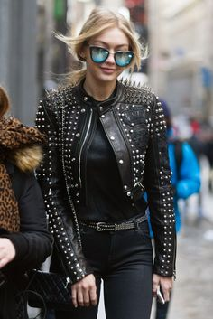 Gigi Hadid's all-black ensemble received a touch of edginess with a spiked Diesel jacket.