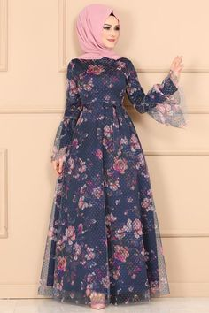 Modaselvim ELBİSE Çiçek Baskılı Tül Elbise 2174MS212 Laci Long Dress Fashion, Frock Fashion, Indian Fashion Dresses, Fashion Outfits, Stylish Dresses For Girls, Dress Clothes For Women, Beautiful Dress Designs, Best Gowns, Simple Gowns