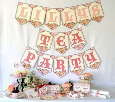 Garden Tea Party Bridal Shower or Birthday Kit Printable Digital Files Custom. $17.00, via Etsy.