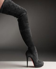 Christian Louboutin Suede Over The Knee Platform Boot
