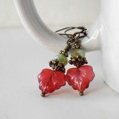Dangle Earrings Red Leaf Czech Glass Bead by CopperNichols on Etsy, $15.00