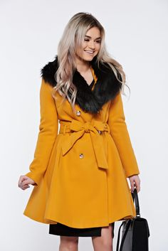LaDonna elegant mustard coat from wool with detachable faux fur insertions, with pockets, wool, accessorized with tied waistband, inside lining, detachable faux fur insertions, women`s coat, with buttons