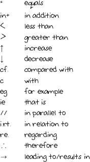 note taking: 5 Keeping it short: jottings, abbreviations and symbols