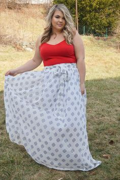 Plus Size Clothing for Women - Dot Print Chiffon Maxi Skirt for Learning To Be Fearless (Sizes 14 - 20) - Society+ - Society Plus - Buy Online Now!
