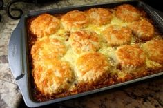 Biscuit-Topped Ground Beef Casserole | This ground beef casserole recipe makes for a great dinner idea.