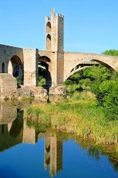 A view a medieval bridge in Besalu,Catalonia
