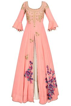 Surreal rose floral embroidered anarkali kurta and lehenga skirt set available only at Pernia's Pop Up Shop. Indian Attire, Indian Ethnic Wear, Indian Outfits, Indian Gowns Dresses, Pakistani Dresses, Anarkali Dress, Lehenga Skirt, Hippy Chic, Modelista