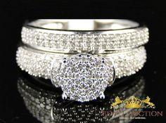 Round Cut Diamond Bridal Set 10K White Gold Engagement Wedding Ring 1.90 Ct. #2jewelauction #WeddingEngagementAnniversaryBridalSet