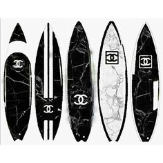 Marble Black White Surfboard Art Print from Watercolor Painting,... ($20) ❤ liked on Polyvore featuring home, home decor, wall art, chanel, marble painting, black