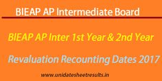 BIEAP AP Inter 1st Year 2nd Year Revaluation Recounting Dates