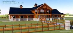 Barn with Apartment above Breezeway, love the way it looks and that it doesn't take away rafter space above the horses