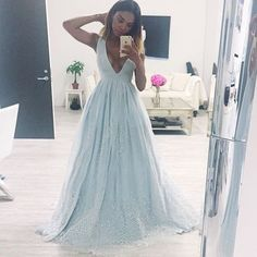 Elegant Prom Dress,Long Prom Dress,A Line Evening Dress,Formal Evening Gowns,Appliques Beaded Prom Dresses V Neck Prom Dresses, Elegant Prom Dresses, Formal Evening Dresses, Formal Gowns, Pretty Dresses, Evening Gowns, Beautiful Dresses, Wedding Dresses, Dress Formal