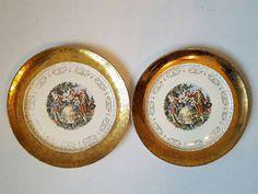 TWO Sabin Crest o Gold antique dinner plates #sabin #crest_o_gold