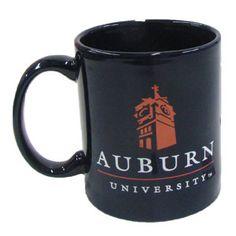 c0a7bf000419a Navy mug with orange Samford Tower and and white AUBURN UNIVERSITY on both  sides. Auburn University Bookstore