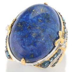 Michael Valitutti Lapis Lazuli, London Topaz, Chrome Diopside and White Topaz Ring
