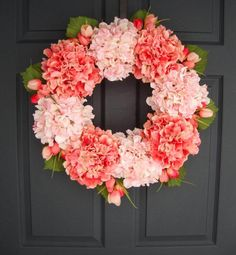 Celebrate the return of Daylight Savings Time this weekend by hanging a lush hydrangea wreath. #etsy