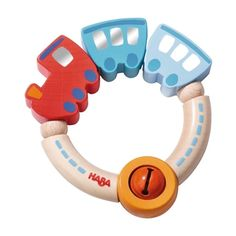 This special Jingle Train clutching toy is made from solid beech wood with natural, water-based, non-toxic lacquers, creating a lovely bright toy that's safe for baby to chew. The trains can be twisted and turned and it also features a sweet jingly bell that babies will adore.