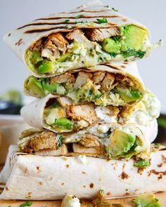 Chicken and Avocado Burritos by @closetcooking . Check out his blog for more recipes! Link on his bio @closetcooking . Servings: 4 . Burritos stuffed with juicy chicken, cool and creamy avocado, oozy gooey melted cheese, spicy salsa verde and sour cream! . ingredients 4 burrito sized tortillas, warmed 1 pound cooked chicken, sliced or shredded 1 large avocado, diced 1 cup Monterey Jack cheese, shredded 1/4 cup salsa verde( recipe on his blog) 1/4 cup sour cream or greek yogurt 2 tablespoons…