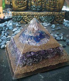 Amethyst, Blue Obsidian, Clear quartz, Druzies Pyramid Orgonite 12cm