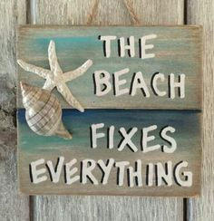 Multi color design this is a handmade beach themed, nautical piece of art, made from recycled pallet boards, sea shells (hand gathered by me) and polymer Summer Deco, Pallet Signs, Wood Signs, Pallet Boards, Beach Room, Beach Art, Seashell Crafts, Beach Crafts, Crafts With Seashells