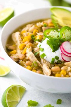 White bean chicken chili simmered in a crockpot with whole roasted jalapenos, tender beans, corn, and lean chicken breast. A healthy recipe pack with flavor and spice. Chili Recipes, Slow Cooker Recipes, Crockpot Recipes, Chicken Recipes, Cooking Recipes, Healthy Recipes, Cooking Chili, Healthy Eats, Chicken Meals