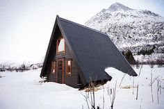 A-Frame on Lofoten Island, Laupstad, Norway.  Contibuted by Vrankenne Christophe.  #cabinporn
