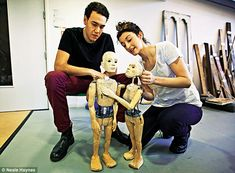 Putting their soul into a piece of wood: Kyle Lima and Naomi Cranston as Demetrius and Helena with their respective puppets