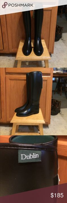 Dublin tall equestrian boots Dublin tall equestrian boots size 6. These are water proof with a jersey interior which is also water proof. The have never been worn only one was tried on NEW WITH TAGS. Absolutely beautiful PERFECT condition!!! Dublin Clothing Shoes Winter & Rain Boots
