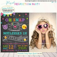 Emoji Birthday Invitation Instagram by PixelPerfectionParty
