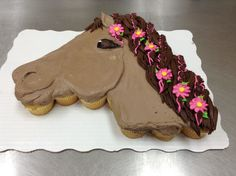 Horse head cupcake cake done in buttercream