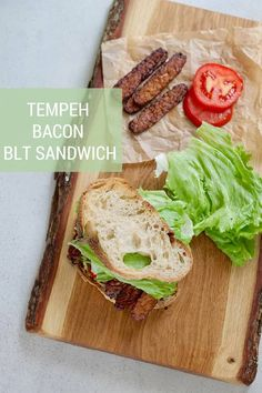 Smoky, delicious vegan tempeh bacon makes the ultimate tempeh bacon BLT sandwiches Veggie Recipes Healthy, Healthy Vegan Snacks, Delicious Vegan Recipes, Vegetarian Recipes, Vegan Lunches, Pescatarian Recipes, Veggie Meals, Gf Recipes, Amazing Recipes