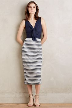 This would flatter my body type! Deryn Tie-Front Midi Dress #anthropologie