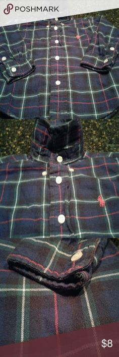Baby Ralph Lauren Long Sleeve Shirt Poplin collar so it buttons.. Perfect condition worn once.. Very cute and comfy.. Fraction of the price they charge in sotre new, which is around 30.. Ralph Lauren Shirts & Tops Button Down Shirts