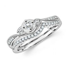 Three Stone Round Diamond Las Bridal Ring Company Gia Certified Sets Free
