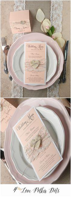 Lace Peach Wedding Menu #wedding #menu #stationery #peach #pastel #rustic #romanic #lace