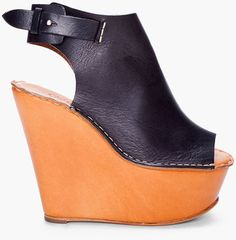 Shop for Black & Tan Cuff Wedges by Chloé at ShopStyle. Chloe Wedges, Chloe Shoes, Black Wedges, New Shoes, Women's Shoes, Leather Wedges, Womens High Heels, Black Leather, My Style