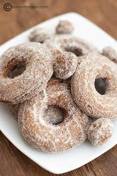apple cider dougnuts  My famiy knows that I'm so loopy about apple cider donuts with cinnamon sugar. There used to be an orchard west of us that made them. The orchard is now a housing tract, and I can only dream of those donuts every fall.