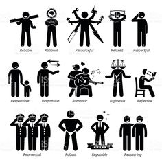 Positive Personalities Character Traits in Stick Figures. Starting with the Alphabet R. royalty-free stock vector art