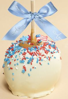 Patriotic Dunked Caramel Apple w/ White Belgian Chocolate