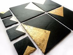 Slate & 24k Gold placemats /handmade UK /contemporary luxury /copper/silver/gold | eBay