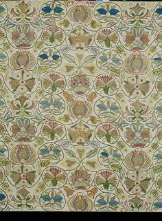 embroidered linen, 1600c, English; All over scrolling stems flowers, silks and gold