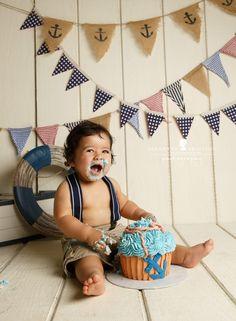 Nautical boy giant cupcake first birthday M & J are One – Petaluma Cake smash photographer » Jeneanne Ericsson Photography