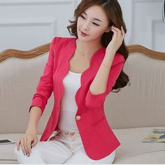 New Fashion 2017 Spring autumn Women Suit Jacket Coat Solid color slim OL ladies work wear blazer feminino chaquetas mujer Suit Jackets For Women, Blazers For Women, Suits For Women, Ladies Blazers, Casual Jackets, Autumn Fashion 2018 Women, Fashion 2017, Fashion Spring, Ol Fashion