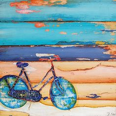 "Proper Use of the Kickstand- Danny Phillips art print, UNFRAMED, bicycle cycling spin beach coast nautical Inspired funky retro vintage mixed media art wall & home decor poster, ALL SIZES. This is a reproduction fine art print of a Danny Phillips' original mixed media painting. This poster comes UNFRAMED and is the perfect gift for the cycle lover. This print comes square with flush edges or in standard sizes with 1/2"" side white border backgrounds.**See pictures for examples**.This gift…"