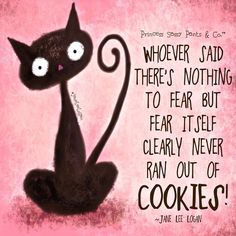 whoever said there's nothing to fear but fear itself clearly never ran out of cookies. Pink Quotes, Sassy Quotes, Jokes Quotes, Cute Quotes, Funny Quotes, Terms Of Endearment, Nothing To Fear, Sassy Pants, Quotation Marks