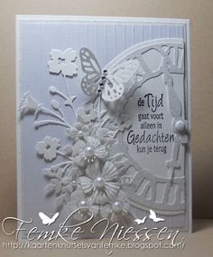 """concolence card made after a layout that you can find in my white card ideas folder. the sentiment means """"time goes on, only in your memories you can go back"""" in dutch."""