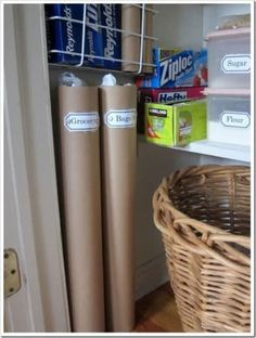 How To Organize Plastic Grocery Bags -I re-use plastic bags and store them in cardboard tubes of all sizes to keep them under control. I use mailing tubes to store plastic grocery bags and paper towel tubes to hold smaller produce size bags. Grocery Bag Storage, Pantry Storage, Pantry Organization, Diy Storage, Pantry Closet, Organized Pantry, Plastic Bag Storage, Kitchen Pantry, Closet Redo