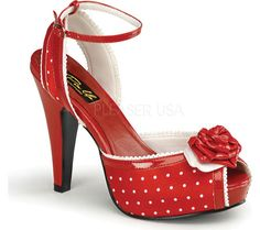 Pin Up Bettie 06 - Red Polka Dot Satin with FREE Shipping & Returns. Show off your impeccable style with these fabulous heels from Pin Up Couture!