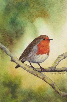 Winter Robin by UK artist Julie Horner