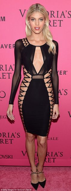 Dark side: Devon Windsor rocked a very revealing number featuring plenty of sheer material...